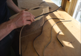 Attaching Side Purfling to Binding Strips for Guitar No. 56